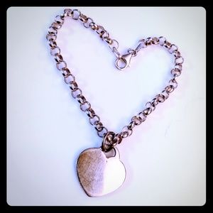 Jewelry - Sweet Engraveable Heart on Sterling Rolo Chain